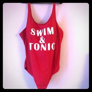 "Bright red ""Swim & Tonic"" swimsuit"